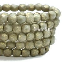 3mm Faceted Round Firepolished Bead Pale Stone with An Etched Finish and Gold Wash