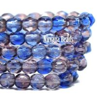 3mm Faceted Round Firepolished Bead Mulberry and Sapphire
