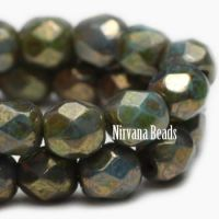 3mm Faceted Round Firepolished Bead Green Bronze