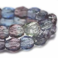 3mm Faceted Round Firepolished Bead Grape, Dark Periwinkle, Clear Glass
