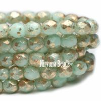 3mm Faceted Round Firepolished Bead Mint with Gold Finish