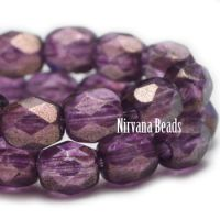 3mm Faceted Round Firepolished Bead Purple with Matte Gold Finish