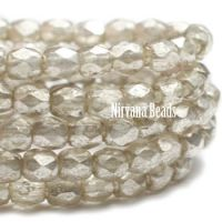 3mm Faceted Round Firepolished Bead Mercury