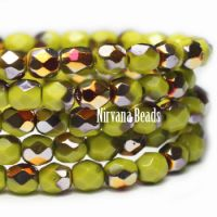 3mm Faceted Round Firepolished Bead Peridot with Orange-gold AB Finish
