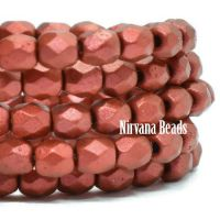 3mm Faceted Round Firepolished Bead Metallic Burnt Umber with Etched and Red Lava Finish