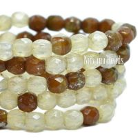 3mm Faceted Round Firepolished Bead Ivory, Brown, and Sea Green with a Silver Picasso Finish