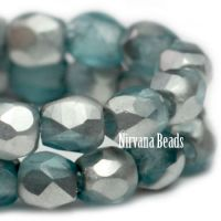 3mm Faceted Round Firepolished Bead Light Slate Blue with Silver Finish.