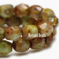 3mm Faceted Round Firepolished Bead Chartreuse with Picasso Finish
