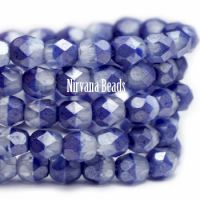 3mm Faceted Round Firepolished Bead Pale Indigo and Transparent Glass