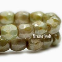 3mm Faceted Round Firepolished Bead Pale Olive with Picasso Finish