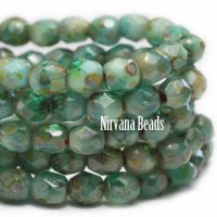 3mm Faceted Round Fire Polished Beads GN. Emerald and blue