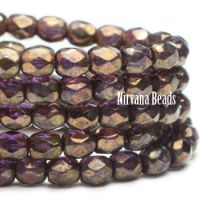 3mm Faceted Round Firepolished Bead Purple Pansy with Bronze Picasso Finish