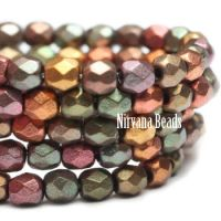 3mm Faceted Round Firepolished Bead Metallic Mix