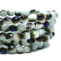 3mm Faceted Round Firepolished Bead Baby Blue with a Blue and Black Luster