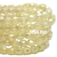 3mm Faceted Round Firepolished Bead Yellow Ivory with Mercury Finish