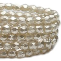 3mm Faceted Round Firepolished Bead Opal with Mercury Finish