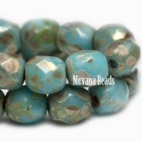3mm Faceted Round Firepolished Bead Medium Sky Blue with Picasso Finish