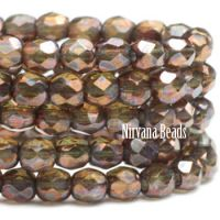 3mm Faceted Round Firepolished Bead Olive with Metallic Rust Finish
