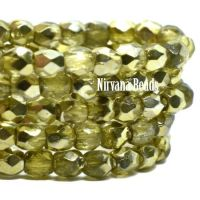3mm Faceted Round Firepolished Bead Chartreuse with Chartreuse Mirror Finish