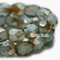 3mm Faceted Round Firepolished Bead Blue Green and Amber