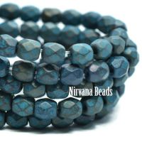 3mm Faceted Round Firepolished Bead Black with Metallic and Etched Finish and Turquoise Wash