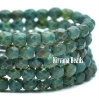 3mm Faceted Round Firepolished Bead Blue Green Wtih Etched and Picasso Finish