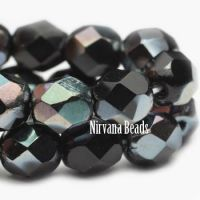 3mm Faceted Round Firepolished Bead Black Luster