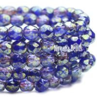 3mm Faceted Round Firepolished Bead Indigo and Grape with Luster Finish