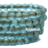 3mm Faceted Round Firepolished Bead Pacific Blue with Etched Finish and Gold Wash