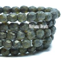 3mm faceted Round Firepolished Bead Charcoal with an Etched and Picasso Finish