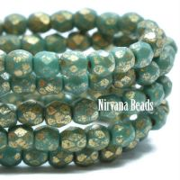 3mm Faceted Round Firepolished Bead Sea Green with Gold Wash and An Etched Finish