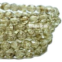 3mm Faceted Round Firepolished Bead Pale Olive
