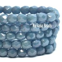 3mm Faceted Round Firepolished Bead Cornflower with a Luster Finish