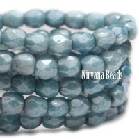 3mm Faceted Round Firepolished Bead Light Slate Blue