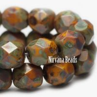 3mm Faceted Round Firepolished Bead Yellow Gold with Picasso Finish