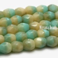 3mm Faceted Round Firepolished Bead Tea Green and Ivory
