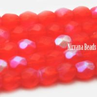 3mm Faceted Round Firepolished Bead Ladybug with AB Finish