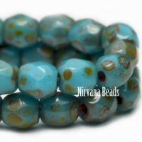 3mm Faceted Round Firepolished Bead Pacific Blue with Picasso Finish