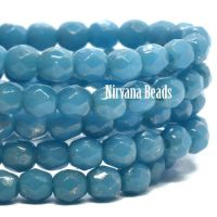 3mm Faceted Round Firepolished Bead Pacific Blue