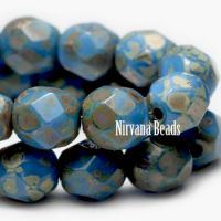3mm Faceted Round Fire Polished Beads BE. Sky blue Picasso