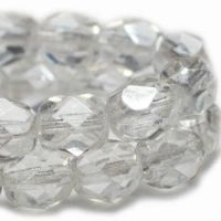 3mm Faceted Round Firepolished Bead Transparent Glass with Luster Finish