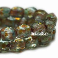3mm Faceted Round Firepolished Bead Sea Green with Picasso Finish