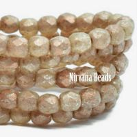 3mm Faceted Round Firepolished Bead Champagne with An Etched and Gold Finish with a Copper Wash