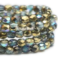 3mm Faceted Round Firepolished Bead Blue Green with Gold Luster AB Finish