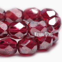 3mm Faceted Round Firepolished Bead Fuchsia with Luster Finish