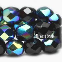 3mm Faceted Round Firepolished Bead Black with AB Finish