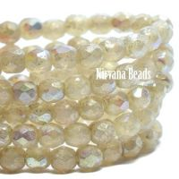 3mm Faceted Round Firepolished Bead Ivory with An AB and Mercury Finish