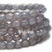 3mm Faceted Round Firepolished Bead Milky Periwinkle with Hyacinth Finish