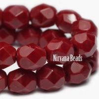 3mm Faceted Round Firepolished Bead Maroon