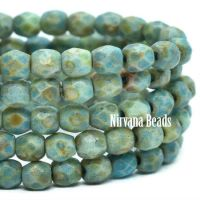 3mm Faceted Round Firepolished Bead Blue Green with Picasso and Etched Finish